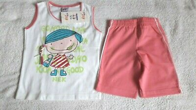 Girls Bnwt White Top & Pink Shorts 2 Piece Outfit Set - Size 4 (3-4 Years)