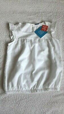Girls Bnwt Tu White Embroidered Short Sleeve Top  - Age 3-4 Yrs (98-104Cms)
