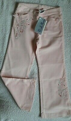 Girls New Pink Embroidered Blend Trousers By  Piccolo Mondo (Size 5)