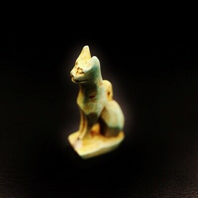Rare Ancient Egyptian Stone Cat BASTET (Bes) Amulet Figurine