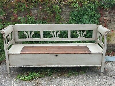 Antique Painted Pine Storage Bench/Settle with Lift up Lid
