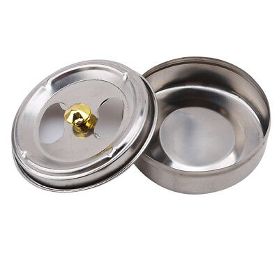 Windproof Ashtray With Lid Stainless Steel Rotary Round  Silver Ashtray MA