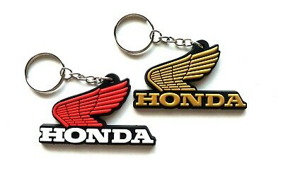 For Honda classic 2 Pcs Logo Keychain Key Ring Rubber Motorcycle Car Bike Gift