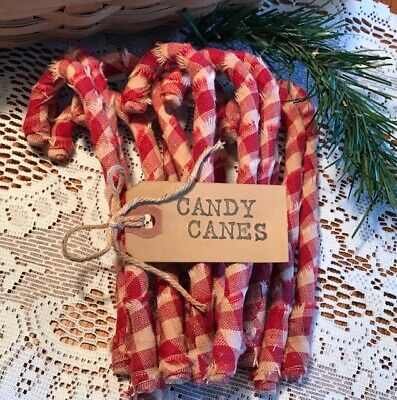 12 Primitive RED CHECK HOMESPUN Fabric Candy Canes Christmas Ornaments RUSTIC