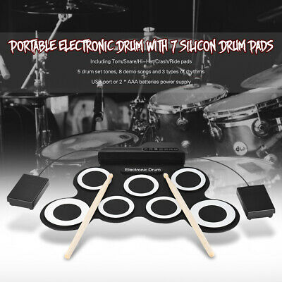 Compact Size Portable Digital Electronic Roll Up Drum Set Kit 7 Silicon B2I3