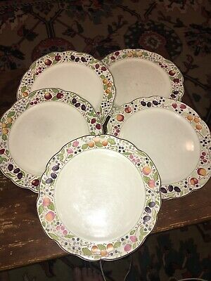 "Gien Les Tartes Handled Cake Plate France Marie-Pierre Boitard 11.5"" Lot Of 5"