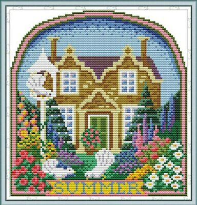 WINTER COTTAGE COUNTED CROSS STITCH KIT 14 COUNT AIDA 25x26CM
