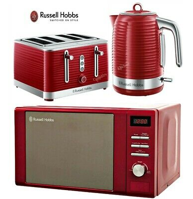 Red Russell Hobbs Inspire Kettle and Toaster Set with Heritage Microwave - New