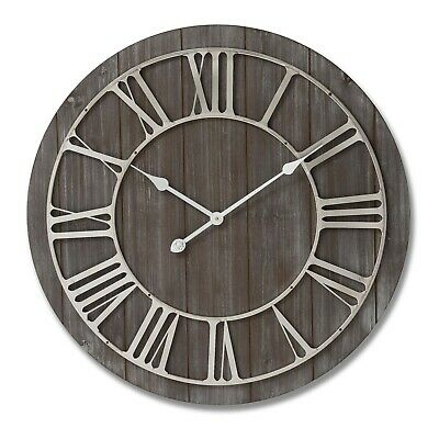 Large wooden WALL CLOCK contemporary rustic style nickel roman numerals 68cm