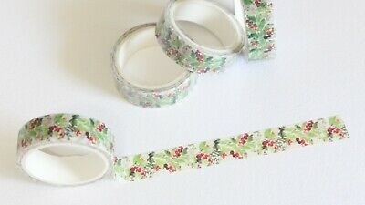 Watercolor Christmas floral washi tape 15mm x 5m