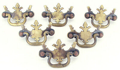 Vintage Solid Brass Colonial Style Drawer Pulls - Set of 6 with Mounting Screws