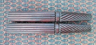 Pair Victorian antique carved mahogany posts columns pillers architectural legs