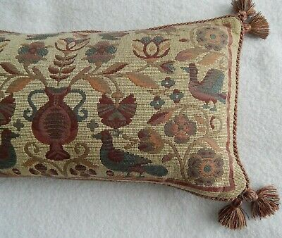 Woven Tapestry Cushion Cover - Birds & Flowers - Tassels - Vintage- Sussex House