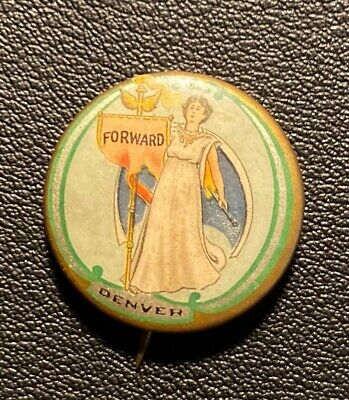 Woman Suffrage Pinback Button Forward Denver Dry Goods backpaper