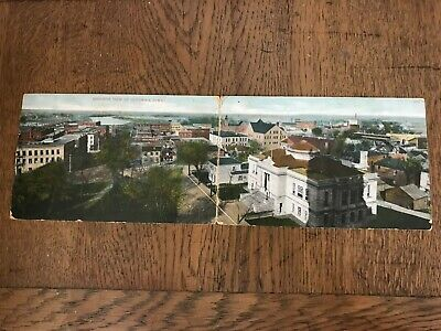 Birdseye Bird's Eye View of Ottumwa Iowa IA Double Fold Out Postcard
