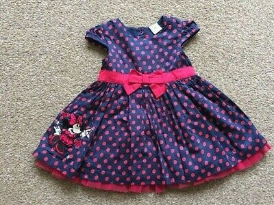 Baby Girls Disney Minnie Mouse Purple Pink Spotty Dress 3-6 Months B84