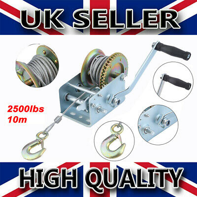 10m Manual Hand Crank Strap Gear Winch Car Truck Boat Marine Trailer mt