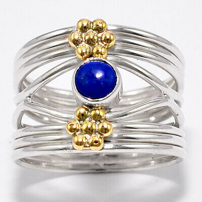 Two Tone - Lapis Lazuli - Afghanistan 925 Silver Ring Jewelry s.7.5 SDR33317