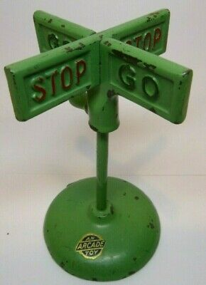 ORIGINAL Vintage Early 1900's Antique Cast Iron Toy GO STOP SIGN Arcade Mfg. Co
