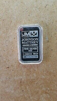 1 oz .999 fine silver bar. Johnson Matthey Bar in airtite case.