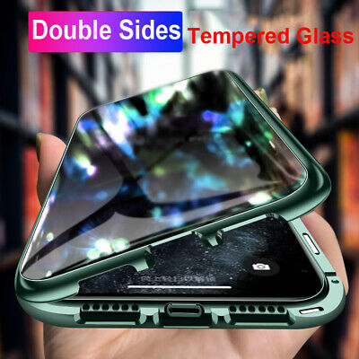 For iPhone 11 Pro Max XR X Double Side Glass Case 360° Magnetic Adsorption Cover