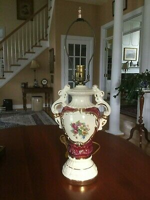 Antique Porcelain Urn French Style Table Lamp Hand Painted Roses