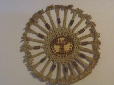 Vintage Retro Macrame Wall Hanging Anthropomorphic Sunburst Face 30""