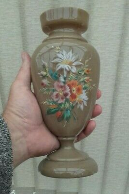 Large Victorian Antique Opaline Glass Vase Hand Painted With Flowers VGC