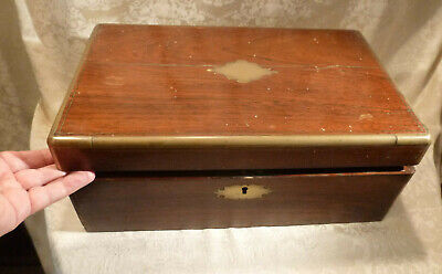 Huge Antique Victorian Rosewood Writing Slope Box Secret Drawers Brass Bands 16""