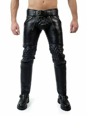 Men's Cowhide Leather Jeans Two Colors Double Zip Pants Jeans Breeches Bluf Led