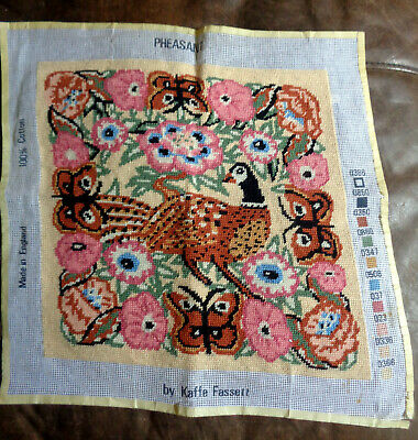 Completed hand-stitched wool tapestry Pheasant by Kaffe Fassett