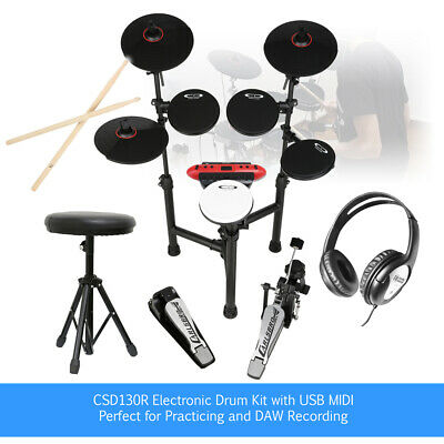 Digital Drum Kit Electronic Electric Pads, Practice Sticks, Headphones & Stool