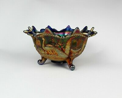 NORTHWOOD ☆ BLUE CARNIVAL GLASS PEACOCK at the FOUNTAIN Pattern 3 Footed BOWL