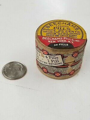 Vintage Beechams Pills Medicine Container Full Unopened New York Ny