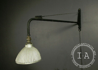 Industrial Antique Swing Arm Wall Sconce w/ Mercury Glass Reflector