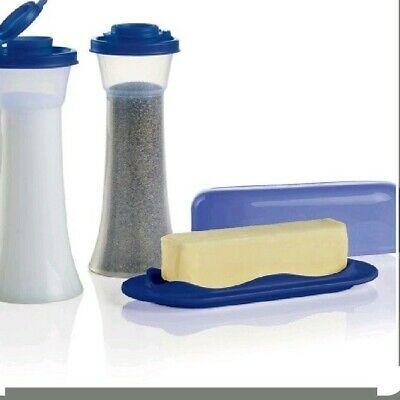 Tupperware Hourglass Salt & Pepper Shakers With Butter Dish - BLUE - Large Size