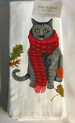 "Isaac Mizrahi Kitchen Towels Set of 2 Dish Towel 18x28"" Autumn Cat Wearing Scarf"