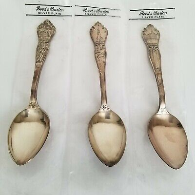 Vintage Reed and Barton Silver Plate Souvenir Spoons Set of 3