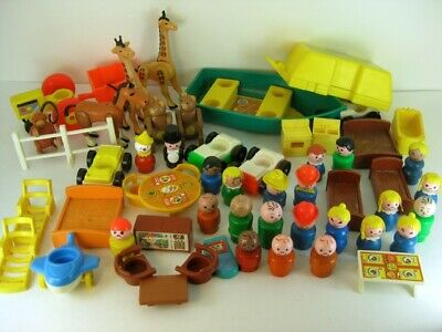 Lot Vintage Fisher Price Little People House Furniture Cars People Train Animals