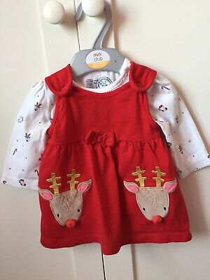 Debenhams Baby Girls Christmas Dress Set 0-3 Months