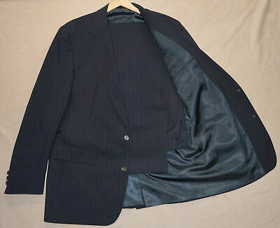 45L Vintage 1990s BROOKS BROTHERS 2-Piece Suit 45 Navy Pinstripe 41x34 w/flaw