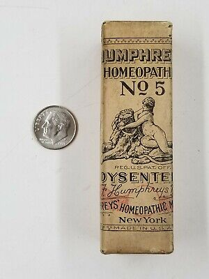 Vintage Humphrey's Homeopathic No 5 Dysentery Medicine Bottle Paper Wrapped Ny