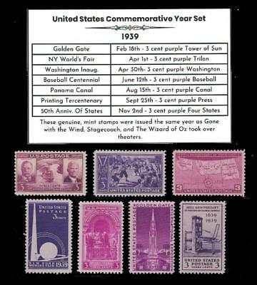 US Stamps 1939 Complete Mint Year Set of Vintage Commemorative Stamps