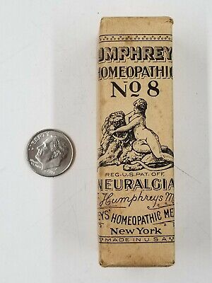 Vintage Humphrey's Homeopathic No 8 Neuralgia Medicine Bottle Paper Wrapped Ny