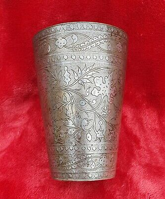 An Antique Silver Plated Heavily Engraved Beaker, Indian Or Russian Niello Work.