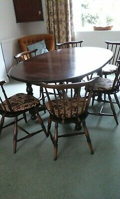 """Ercol Dining Chairs (6) and Extendable Dining Table. 43"""" wide."""