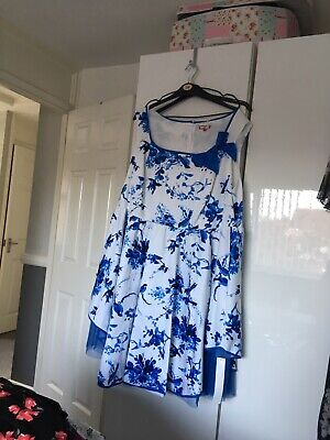 joe browns dress size 30 brand new with tags blue and white sleeveless