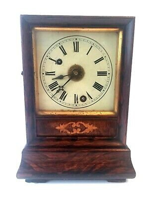 Antique Rosewood Inlaid German Mantel Clock With Alarm Bell Strike C1900