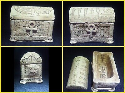 EGYPTIAN ANTIQUES ANTIQUITIES Lided Stone Sarcophagus Coffin Tomb 1549-1083 BC