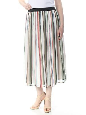 NY COLLECTION $24 Womens Ivory Pinstripe Elastic Waist Accordion Pleat Skirt XL